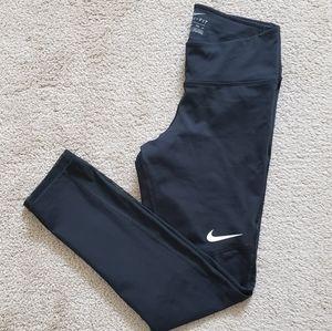 Nike Dri Fit Mesh Mid Rise Black Leggings